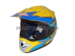 Motorcross Helmets Yellow / Blue - Adult and Kids Motorcross Helmets Yellow / Blue - Motorcycle Helmets Yellow / Blue - Crash Helmets Yellow / Blue - Motorbike Helmets Yellow / Blue
