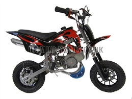 Mini Dirt Bike - DB02 Black / Red Flames Mini dirtbike - Mini Dirt Bikes  - Pocket Bikes - Minimotos - Mini Moto