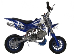 Mini Dirt Bike - DB02 Blue / White Flames Mini dirtbike - Mini Dirt Bikes  - Pocket Bikes - Minimotos - Mini Moto