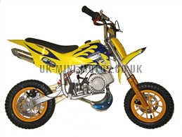 Mini Dirt Bike - DB02 Yellow / Blue Flames Mini dirtbike - Mini Dirt Bikes  - Pocket Bikes - Minimotos - Mini Moto