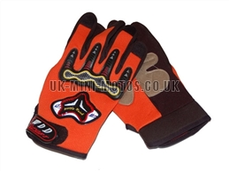 Orange Motorbike Gloves - Adult and Kids Motorbike Gloves - Motorcross Gloves - Motorcycle Gloves - Orange Trials Gloves