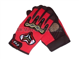 Red Motorbike Gloves - Adult and Kids Motorbike Gloves - Motorcross Gloves - Motorcycle Gloves - Red Trials Gloves