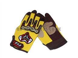 Yellow Motorbike Gloves - Adult and Kids Motorbike Gloves - Motorcross Gloves - Motorcycle Gloves - Yellow Trials Gloves